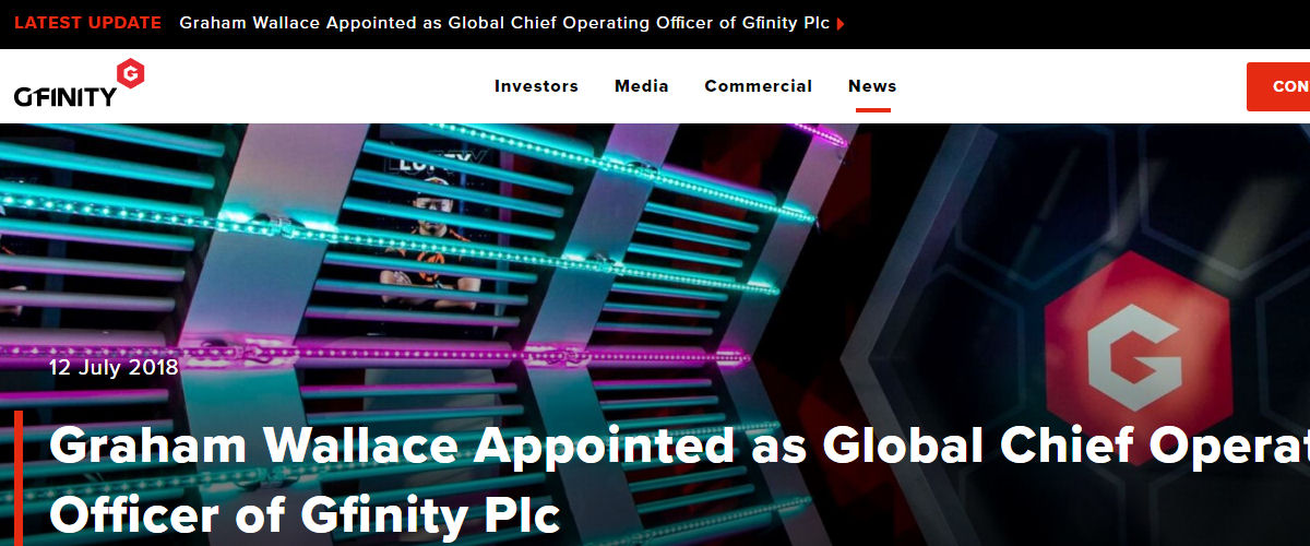 Gfinity Appoints Graham Wallace as Global Chief Operating Officer